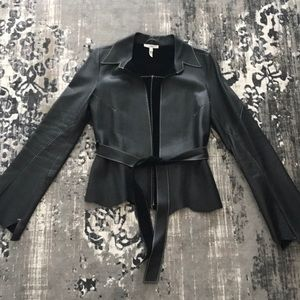Joie Leather Jacket Black Bell Sleeve SZ S